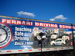 Billboard of Ferrari driving school
